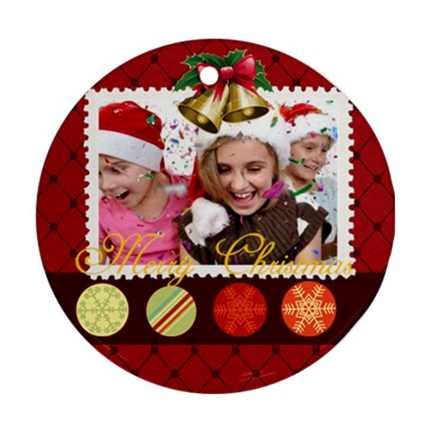 Christmas By M Jan   Ornament (round)   Ot0n4x10s7r1   Www Artscow Com Front