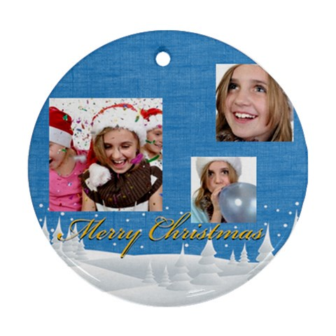 Christmas By M Jan   Ornament (round)   Nbmhr8lwn6y0   Www Artscow Com Front