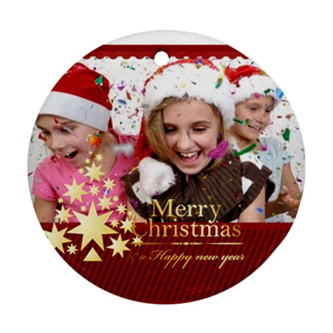 Christmas By M Jan   Ornament (round)   83dnkhxgojgd   Www Artscow Com Front