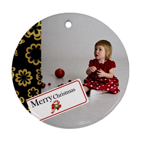 Christmas By M Jan   Ornament (round)   S8elewl118os   Www Artscow Com Front