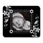 Black Floral Large Mousepad