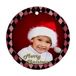 Christmas Pink Checker Round Ornament (2 sided) - Round Ornament (Two Sides)