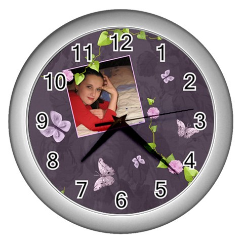 Lavender Dream   Wall Clock (silver)  By Picklestar Scraps   Wall Clock (silver)   C8gpcodbwhzk   Www Artscow Com Front