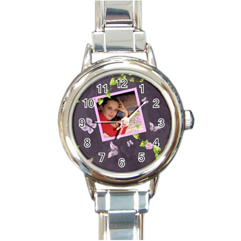 Lavender Dream   Round Italian Charm Watch  By Picklestar Scraps   Round Italian Charm Watch   En29htus8xkb   Www Artscow Com Front