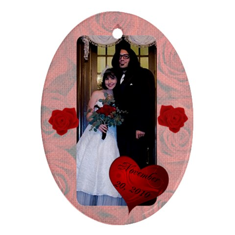 Shan Wedding By Stephanie Kyne   Ornament (oval)   Xfyuwhoe22ch   Www Artscow Com Front