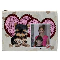 I Love My Yorkie Cosmetic Bag (xxl) 2 Sides By Kim Blair   Cosmetic Bag (xxl)   V0re0h3fjyrk   Www Artscow Com Front