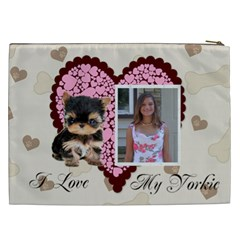 I Love My Yorkie Cosmetic Bag (xxl) 2 Sides By Kim Blair   Cosmetic Bag (xxl)   V0re0h3fjyrk   Www Artscow Com Back