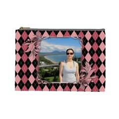 Pink Swirl Cosmetic Bag (l) By Deborah   Cosmetic Bag (large)   29d9n5hh4p8c   Www Artscow Com Front