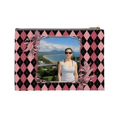Pink Swirl Cosmetic Bag (l) By Deborah   Cosmetic Bag (large)   29d9n5hh4p8c   Www Artscow Com Back