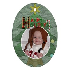 Lighten Up, Its Christmas Ornament (2 Sided) By Lil    Oval Ornament (two Sides)   R37av14k2lla   Www Artscow Com Back