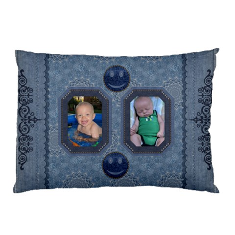 Fun Denim Look Pillow Case By Lil    Pillow Case   4yn493hs37p9   Www Artscow Com 26.62 x18.9  Pillow Case