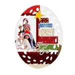merry christmas - Oval Filigree Ornament (Two Sides)