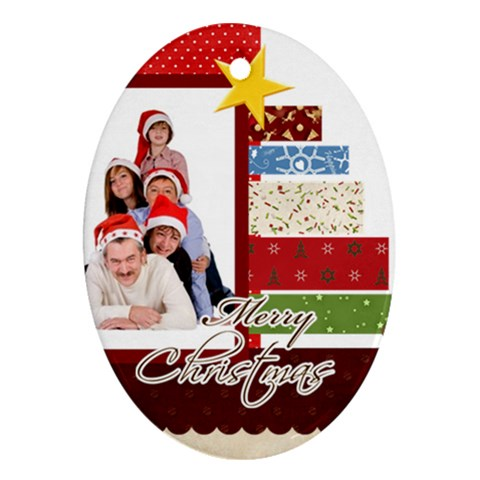 Merry Christmas By Betty   Ornament (oval)   R4x8u9ydzylo   Www Artscow Com Front