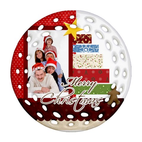 Merry Christmas By Betty   Ornament (round Filigree)   Hyahr3jltmrd   Www Artscow Com Front