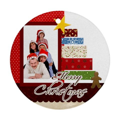 Merry Christmas By Betty   Ornament (round)   Zf08gfaroi1x   Www Artscow Com Front