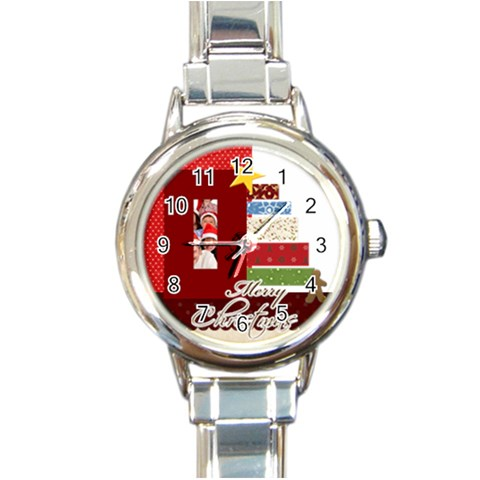 Merry Christmas By Betty   Round Italian Charm Watch   Bok6m97eq5ir   Www Artscow Com Front