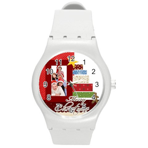 Merry Christmas By Betty   Round Plastic Sport Watch (m)   Di1gzsk4pbmf   Www Artscow Com Front
