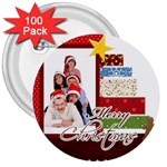 merry christmas - 3  Button (100 pack)