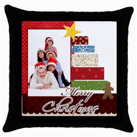 Merry Christmas By Betty   Throw Pillow Case (black)   Ko2sscfn2col   Www Artscow Com Front