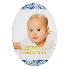 Merry Christmas, Xmas, Happy New Year  By Wood Johnson   Oval Ornament (two Sides)   O1cozs17dp74   Www Artscow Com Front