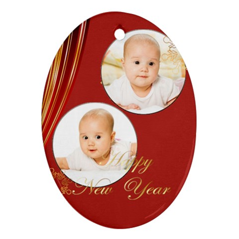 Merry Christmas, Xmas, Happy New Year  By Wood Johnson   Ornament (oval)   H3xf2vycm7vd   Www Artscow Com Front