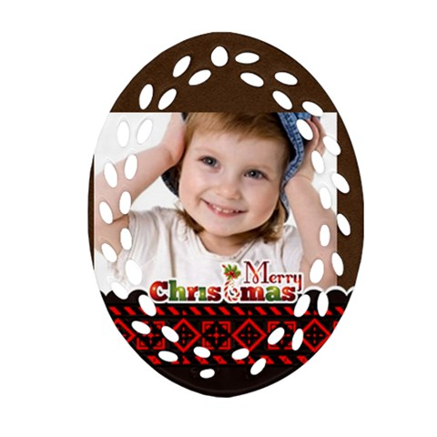 Merry Christmas, Xmas, Happy New Year  By Wood Johnson   Ornament (oval Filigree)   Zq7cbyuszqdn   Www Artscow Com Front