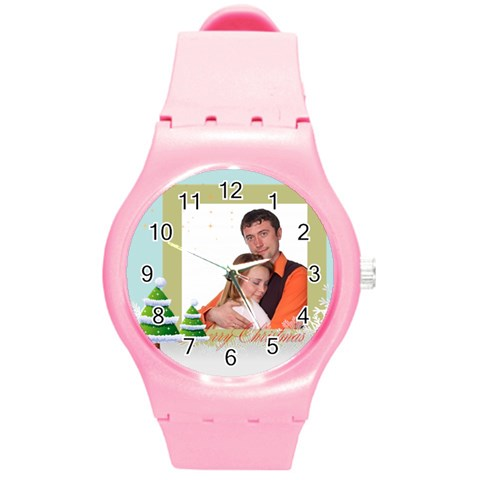 Merry Christmas, Xmas, Happy New Year  By Wood Johnson   Round Plastic Sport Watch (m)   9opg6gjwt4ik   Www Artscow Com Front