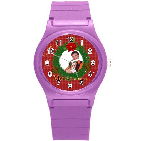 Merry Christmas, Xmas, Happy New Year  By Wood Johnson   Round Plastic Sport Watch (s)   Exbaodeecpap   Www Artscow Com Front