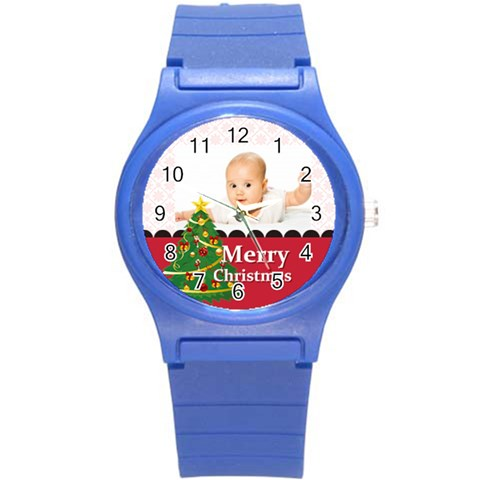 Merry Christmas, Xmas, Happy New Year  By Wood Johnson   Round Plastic Sport Watch (s)   Gjz9p62ij5yo   Www Artscow Com Front
