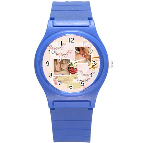 Merry Christmas, Xmas, Happy New Year  By Wood Johnson   Round Plastic Sport Watch (s)   Fwsuo80duhgh   Www Artscow Com Front