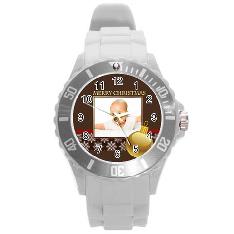 Merry Christmas By Wood Johnson   Round Plastic Sport Watch (l)   Skvi7lxvrwbe   Www Artscow Com Front