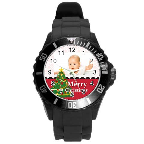 Merry Christmas, Xmas, Happy New Year  By Wood Johnson   Round Plastic Sport Watch (l)   30e0yk84ru8a   Www Artscow Com Front