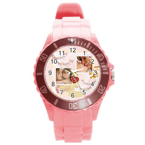 Merry Christmas, Xmas, Happy New Year  By Wood Johnson   Round Plastic Sport Watch (l)   Tj8srppkvwma   Www Artscow Com Front
