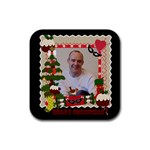 Merry Christmas coaster - Rubber Coaster (Square)