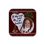 Santa Grandma Christmas Coaster - Rubber Coaster (Square)