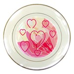 Hearts Plate Pink - Porcelain Plate
