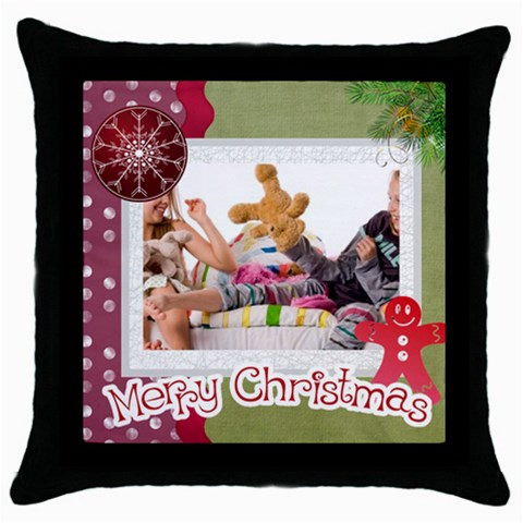 Merry Christmas By Betty   Throw Pillow Case (black)   Ejq5tyhtw8fy   Www Artscow Com Front
