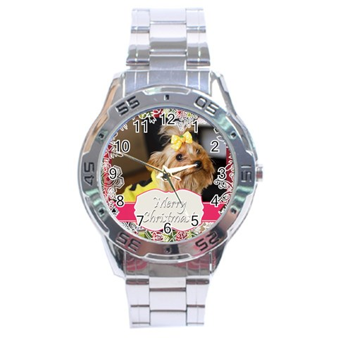 Merry Christmas By Jo Jo   Stainless Steel Analogue Watch   1moxwdipsmaj   Www Artscow Com Front