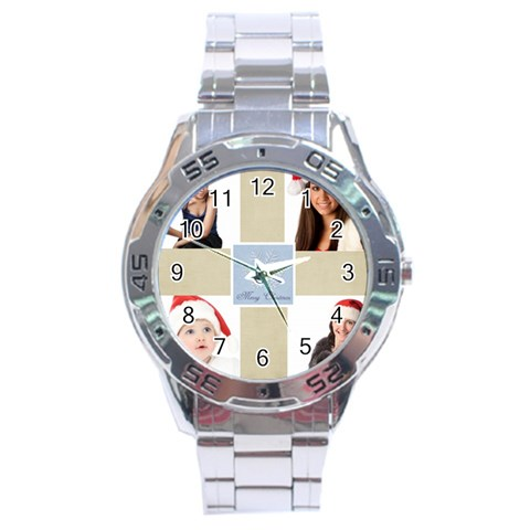 Merry Christmas By Jo Jo   Stainless Steel Analogue Watch   Muejytx8z8wi   Www Artscow Com Front