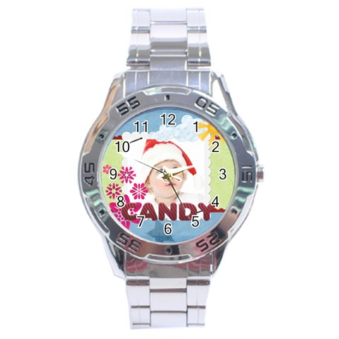 Merry Christmas By Jo Jo   Stainless Steel Analogue Watch   9rdxjbteobs3   Www Artscow Com Front