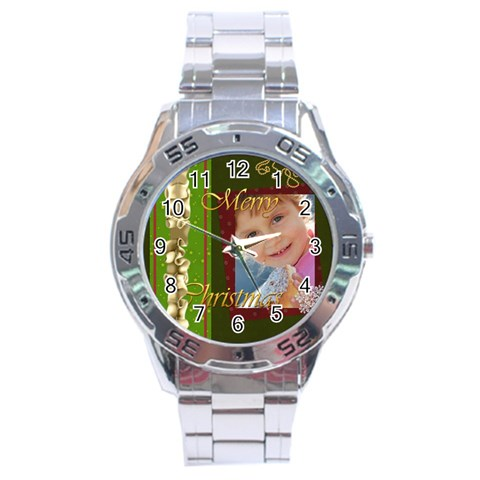Merry Christmas By Jo Jo   Stainless Steel Analogue Watch   Vzdn4xn9inc1   Www Artscow Com Front