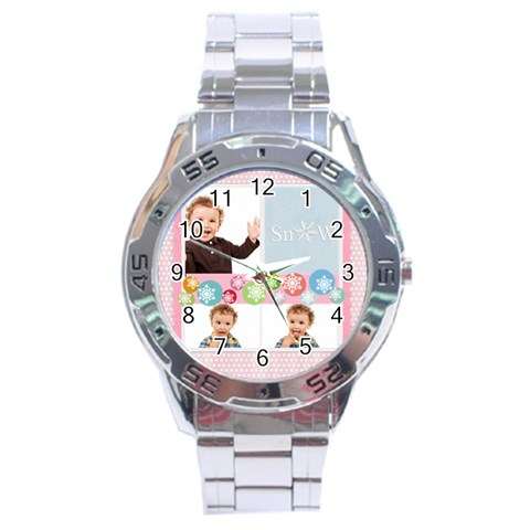 Merry Christmas By Jo Jo   Stainless Steel Analogue Watch   8o0ygavwjp4a   Www Artscow Com Front