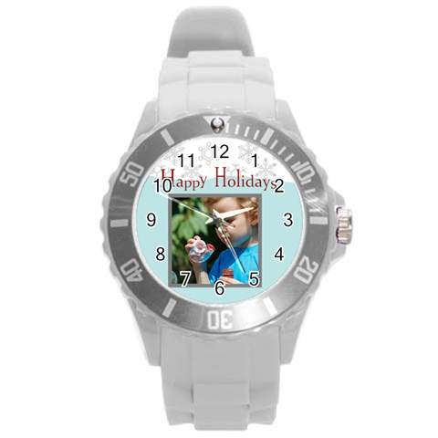 Merry Christmas By M Jan   Round Plastic Sport Watch (l)   09hzek0ebkaq   Www Artscow Com Front