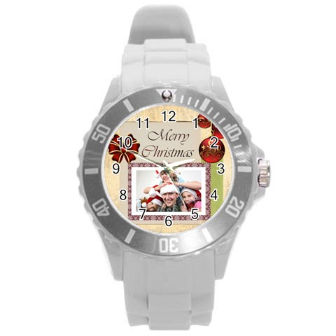 Merry Christmas By M Jan   Round Plastic Sport Watch (l)   0f5wa67j77v6   Www Artscow Com Front