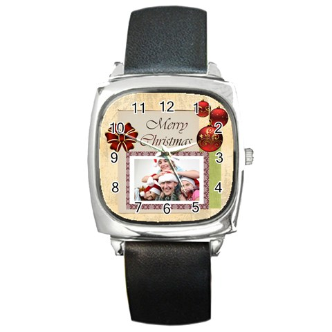 Merry Christmas By M Jan   Square Metal Watch   0z6hi8nnv961   Www Artscow Com Front