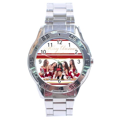 Merry Christmas By Clince   Stainless Steel Analogue Watch   Axp2xyn2y7ye   Www Artscow Com Front