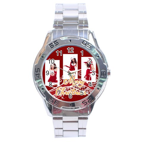 Merry Christmas By Clince   Stainless Steel Analogue Watch   Sgu8n5smd8w7   Www Artscow Com Front
