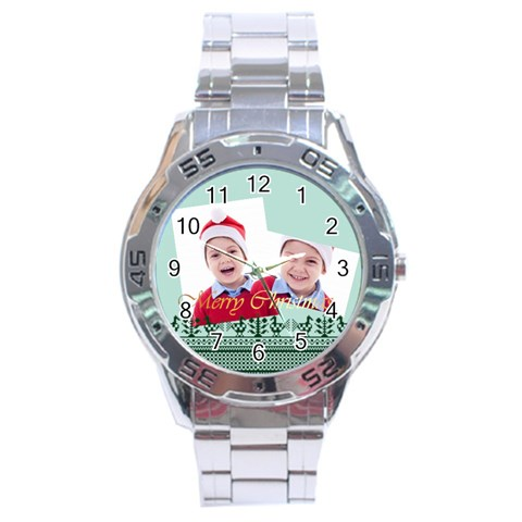 Merry Christmas By Clince   Stainless Steel Analogue Watch   Prtvto7ywz8i   Www Artscow Com Front
