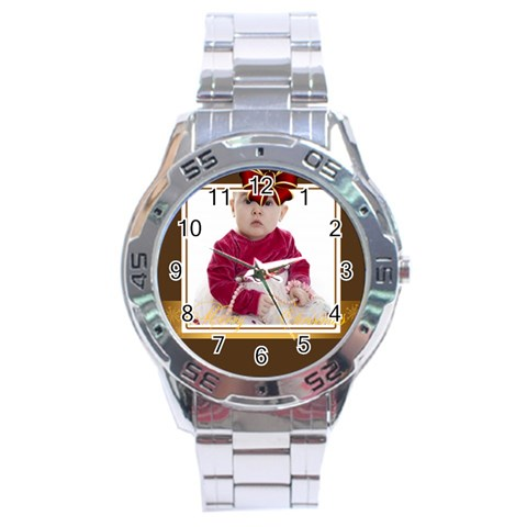 Merry Christmas By Clince   Stainless Steel Analogue Watch   Uqlicq41ek2h   Www Artscow Com Front