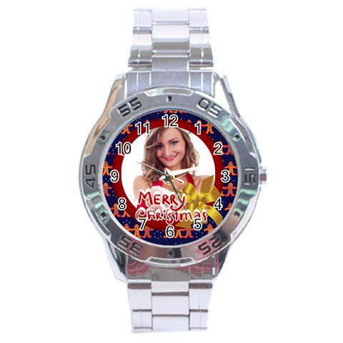 Merry Christmas By Clince   Stainless Steel Analogue Watch   2zun5o8kjgw1   Www Artscow Com Front